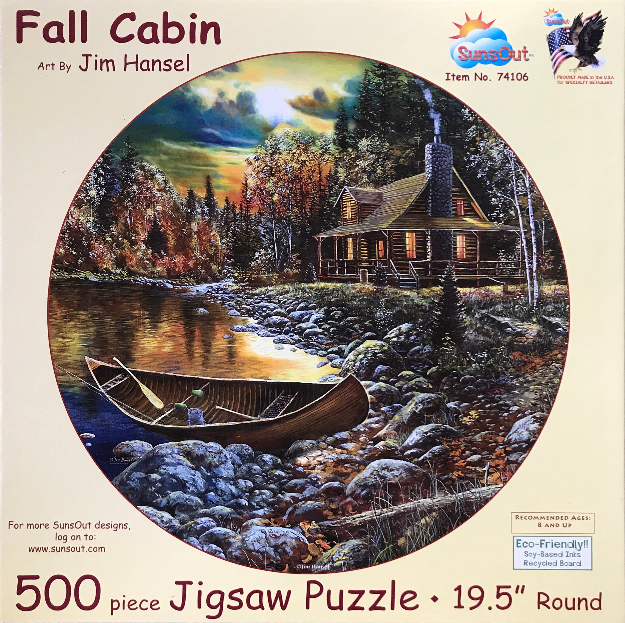 Fall Cabin 500 Piece Round Puzzle