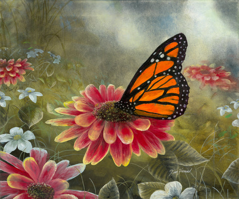 Garden Visitor - Monarch Butterfly Original Oil
