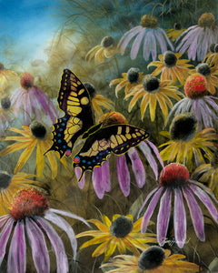 Garden Visitor - Swallowtail Butterfly Original Oil