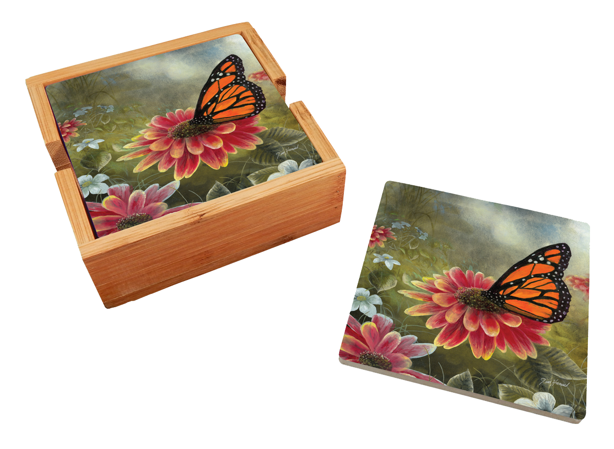 Garden Visitor - Monarch Butterfly 4 Piece Ceramic Coaster Set