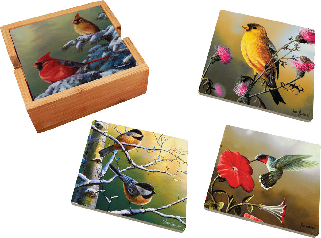 Assorted Birds 4 Piece Ceramic Coaster Set