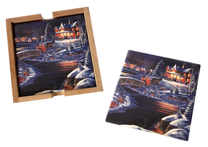 Over The River 4 Piece Ceramic Coaster Set