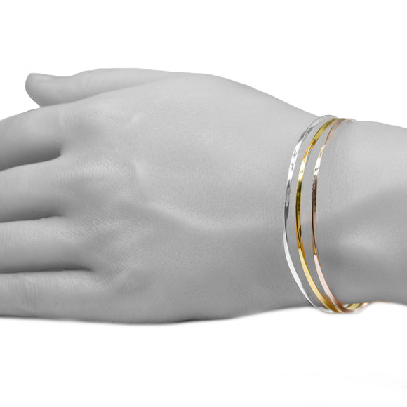 Wrist model twist silver rose yellow gold bangles