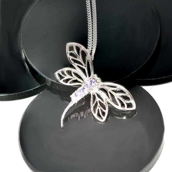 Sterling Silver Necklace Tanzanite 0.15ct Dragonfly  18'' Chain
