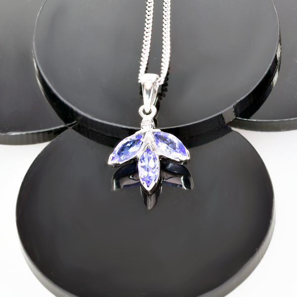 Silver Diamond Necklace Tanzanite Marquise Leaves 0.69ct 18'' Chain