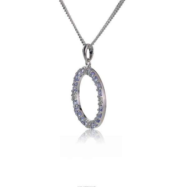 Silver Diamond Necklace Tanzanite 1ct Circle 18'' Chain