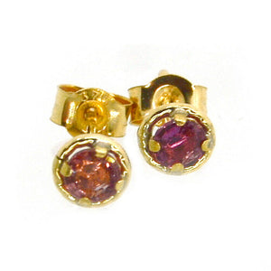 Pink/ Red Ruby 9ct Yellow Gold Halo Set Post and Butterfly Stud Earrings