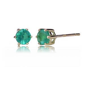 9ct Gold Earrings Stud Emerald 0.5ct 4 Round Womens
