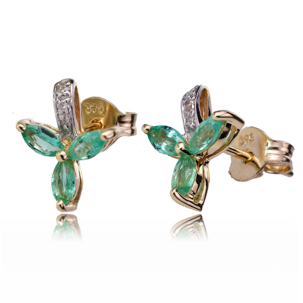9ct Gold Earrings Diamond Stud Emerald Green Marquise Leaves Womens