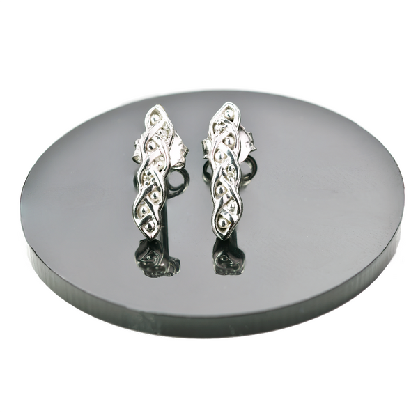 Silver Diamond Earrings Hoop Quarter Eternal Loops Womens