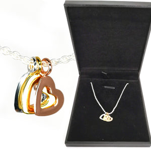 "Trilogy Hearts Necklace Solid Sterling Silver Rose Yellow Gold plus 18"" Chain"