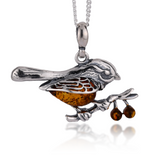 "Silver Chain Pendant 925 Amber Brown Sterling Natural Robin Christmas  18"" Pouch"