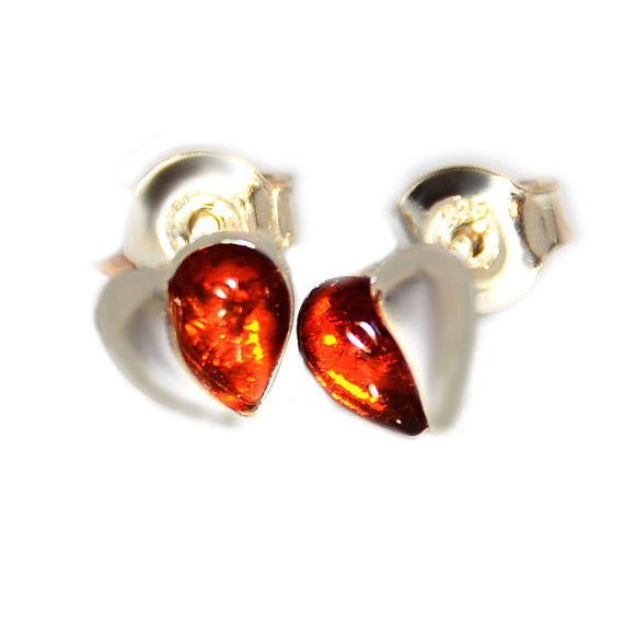 Cognac Baltic Amber Heart Sterling Silver 925 Stud Earrings