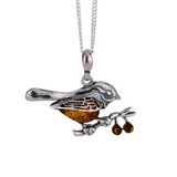 Sterling Silver Amber Robin Pendant Baltic Natural Cognac Optional 925 Chain