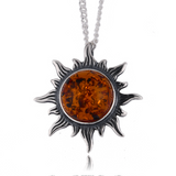 Silver Chain Pendant 925 Amber Brown Sterling Natural Cabochon Sun shine 18 Gift