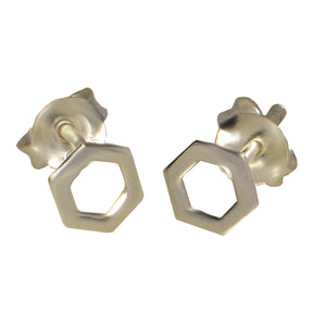 Ojewellery Hexagon Sterling Silver 925 Stud Butterfly Everyday Earrings