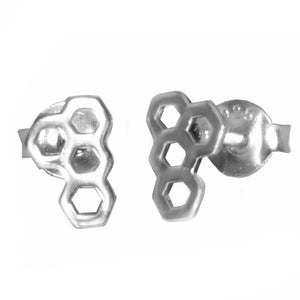 Ojewellery Honeycomb Hexagon Outline Sterling Silver 925 Stud Butterfly Earrings