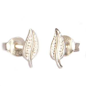 Ojewellery Leaf Detail Sterling Silver 925 Stud Post Butterfly Everyday Earrings
