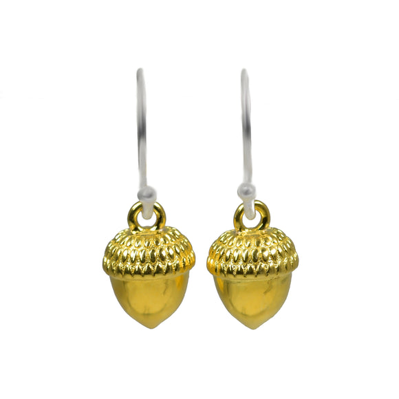 Ojewellery Sterling Silver Yellow Gold Plate Acorn Dangle Earrings Empowerment