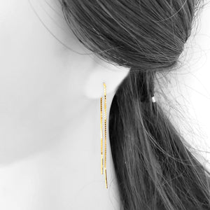 Ojewellery Gold Plated Silver Earrings Long Chain Threader Dangle Empowerment