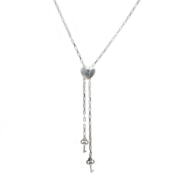 Silver Chain Necklace Slider Lariat Sterling Keys to My Heart Empowerment 26