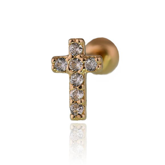 Gold Earring 9ct Cubic Zircon White Yellow Cross Solitaire 375  Cartilage Screw