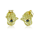 Gold Earrings 9ct Sapphire Blue Yellow Stud Round Natural Hasma Hand Stud Gift