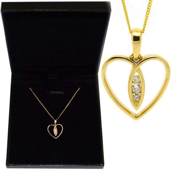 Three Diamonds Heart 9ct Yellow Gold Silhouette Pendant Optional 18