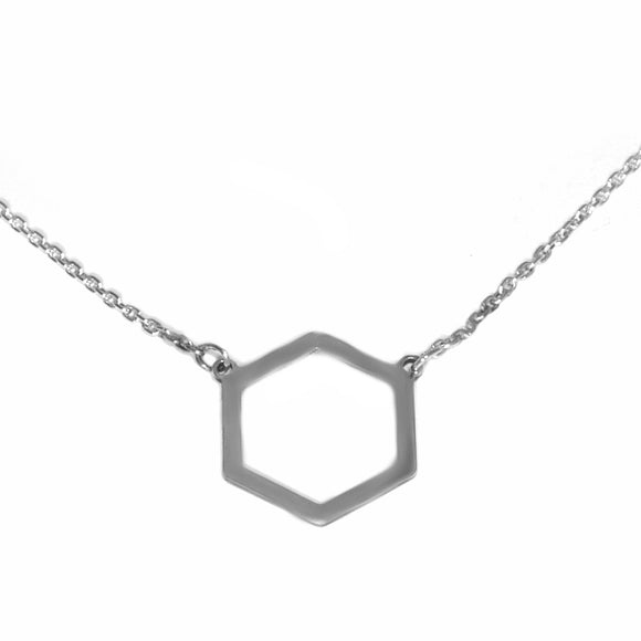 Hexagon Geormetric Necklace Silver