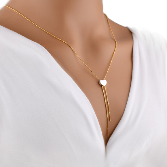 Silver Chain Necklace Slider Gold Plated Lariat Shining Heart Empowerment 26