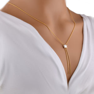 "Silver Chain Necklace Slider Gold Plated Lariat Shining Star Empowerment 26"" New"