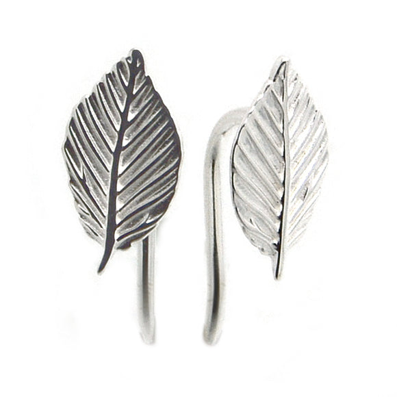 Ojewellery Leaf Hook Fixing Earrings Sterling Silver