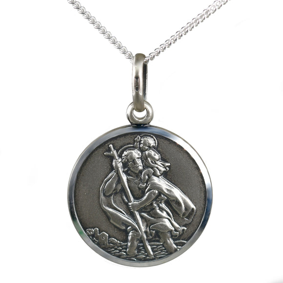 St Christoper Pendant Lge Oxidised Reversible Sterling Silver 18 Chain Boxed New