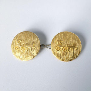 Gold Horse & Buggy Buttons
