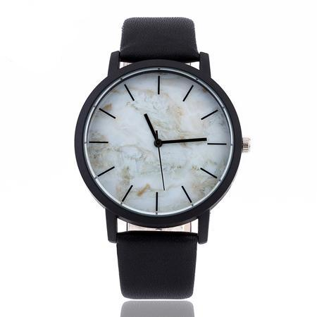 white marble watch black