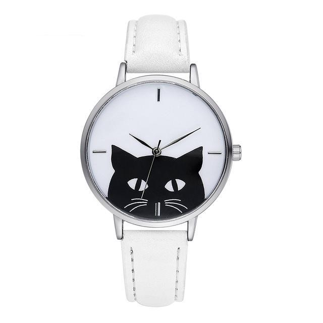 cute cat watch white