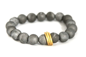 Granite Gold. Grey Druzy and Gold Bracelet