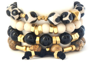 Coal Miners Stack- 4 Stone Bracelets Black Brown Cream Bracelets