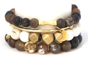 Desert Ironwood Stack: Neutral and Bold Bracelets Bracelets