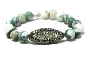 Desert Tortoise Stack - Silver Green Jade and Loaded Bracelet Set Bracelets
