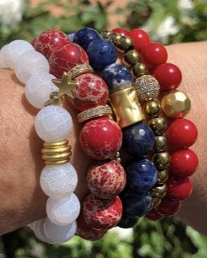 Firework Stack - 4th of July RockN White Agate and Red Coral and Blue Bracelets Bracelets