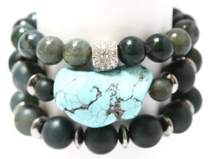 Green Indian Agate Stack: RockN Wrist Wrap Bracelets Bracelets