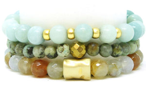 Oasis Stack - Sea Blue Amazonite Agate and African Turquoise Bracelet Set Bracelets