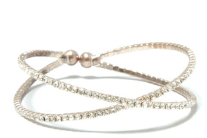 Rhinestone Criss Cross Flexible Bangle - Gold Rose Gold or Silver