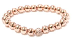 Rose Gold Hematite Bracelet - 4mm 6mm or 8mm Bead Size Bracelets