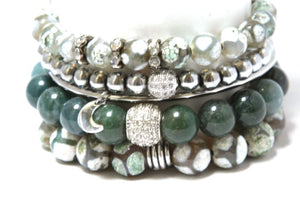 Sage Brush Stack - Green and Silver Accent Bracelet Stack Bracelets