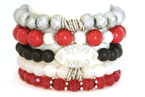 TEAM ROCKS! Ohio Buckeyes Football Silver Black and Red BRACELET STACK