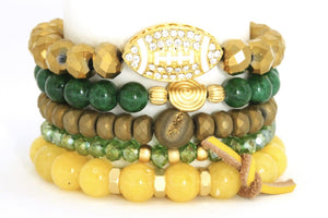 TEAM ROCKS! Oregon Football Green and Yellow BRACELET STACK