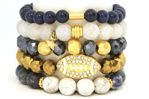 TEAM ROCKS! Rams Football Blue Gold and White Bracelet Stack