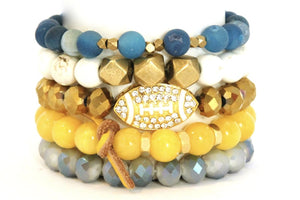 TEAM ROCKS! UCLA Football Blue Yellow White and Gold BRACELET STACK